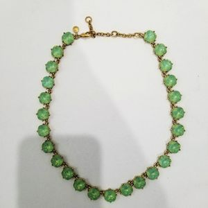 J.Crew Faceted Stone Green Stone / Gold Necklace